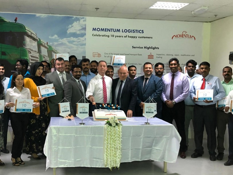The Momentum logistics team celebrating the company's 10th anniversary