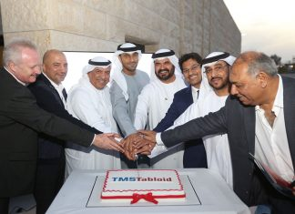 (from left to right) Ray Girvan, The Maritime Standard; Ali Shehab, Kuwait Oil Tanker Company; Mohamed Al Noori, Government of Dubai, Dubai Municipality; Capt. Abdulkareem Al Masabi, ADNOC Logistics & Services; Mohammed Al Muallem, DP World UAE; Trevor Pereira, The Maritime Standard; Salem Al Zaabi, Federal Transport Authority-Land & Maritime; Mohammad Tahir Lakhani, Dubai Trading Agency.
