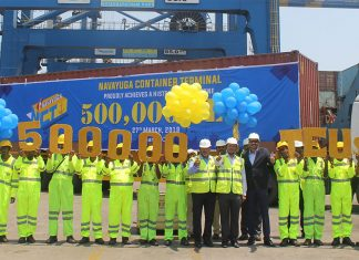 NCT and Krishnapatnam Port executives and staff celebrate the handling of the 500,000 the container in 2018/19