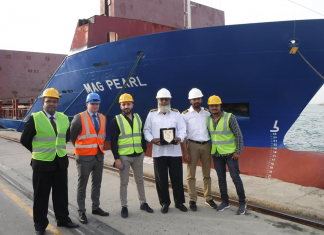 To mark the occasion in traditional fashion, Stephen Barron, SCT Terminal Manager, presented a commemorative shield to the Master of the MAG Pearl in the presence of senior management from Gulftainer