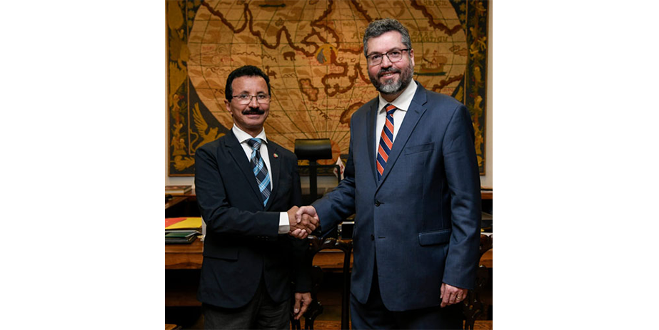 Sultan Ahmed Bin Sulayem meeting the Brazilian Minister of Foreign Affairs Ernesto Henrique Fraga Araujo