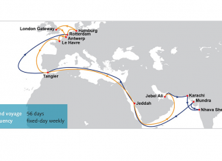 Diagram showing new IP2 route being launched by OOCL this June