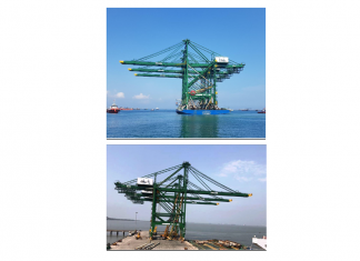 The three new quayside container cranes arriving at BMCT