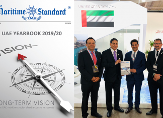 Trevor Pereira, Managing Director, The Maritime Standard, presenting the first copy of the UAE Yearbook 2019/20 to Ali Al Daboos, Executive Director, Dubai Maritime City Authority at the DMCA stand at Nor-Shipping 2019, Oslo. Also seen in the photo are Dr Nawfal Al Jourani, Director, Dubai Maritime Cluster Office (DMCO) and Nitin Mehta, CEO, Tomini Shipping