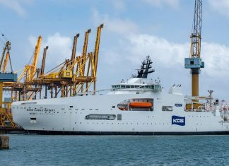 KDDI Cable Infinity alongside at Colombo Dockyard prior to its delivery