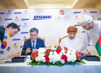 Sung Geun Lee, President and CEO Daewoo Shipping & Marine Engineering (DSME) and ASYAD Group CEO, Abdulrahman Al Hatmi, signing the contract to build three new VLCCs for Oman Shipping Company