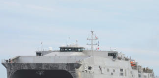 USNS Choctaw County, which was recently drydocked at Duqm