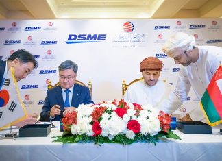 Abdulrahman Al Hatmi signing the contract to build three new VLCCs at DSME