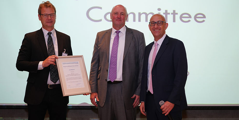 John Wishart, Chief Operating Officer at Foresight Group International, being presented with a certificate to mark his appointment as ROC Chairman by Geir Fuglerud DNV GL Offshore Director and Erik Henriksen, Director, Business Development