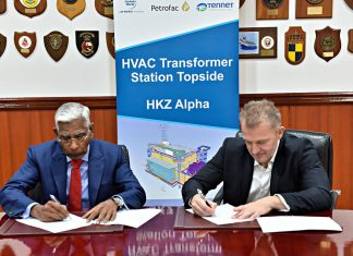 Murugan Pitchai, Managing Director Petrofac and Capt. Rado Antolovic, CEO and Managing Director of DP World's Maritime Services Division, signing the HVAC topside construction agreement