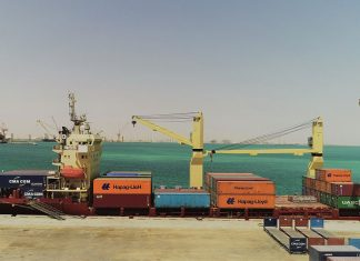 Hapag Lloyd containers being offloaded in Duqm port
