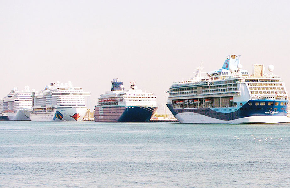 The cruise terminal at Mina Rashid recently handled five cruiser liners simultaneously