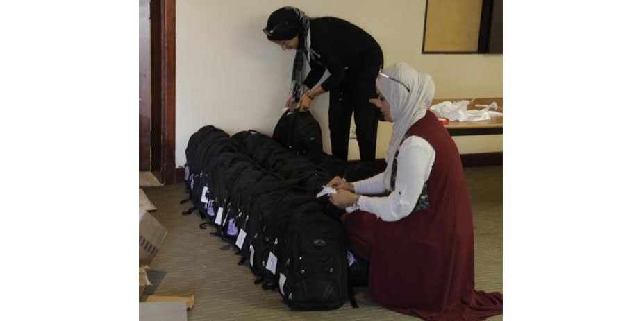 ACT staff provided schools bags and supplies to hundreds of students