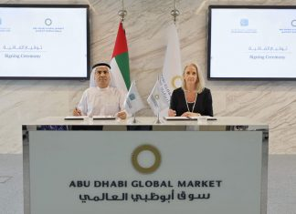 Majid Obaid bin Bashir, Chairman and Secretary General, EMAC and Linda Fitz-Alan, Registrar and Chief Executive of ADGM Courts, signing the new MOU