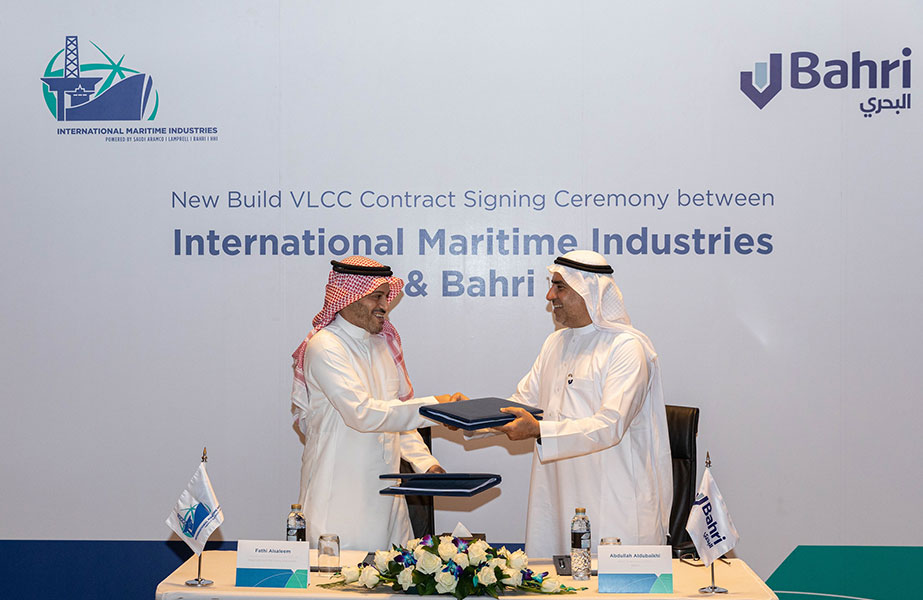Abdullah Aldubaikhi, CEO, Bahri, and Fathi K. Al-Saleem, CEO, IMI, signing the vessel purchase agreement for the new VLCC