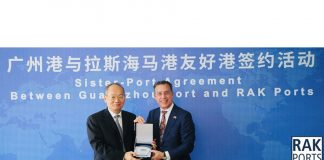 Chen Hongxian, Director General of Guangzhou Port Authority and Roger Clasquin, Chief Commercial Officer of RAK Ports signing the MOU between the two organisations.