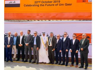 Enrique K. Razon Jr., ICTSI Chairman and President formally opens Basra Gateway Terminal's two new deepwater berths, at Umm Qasr port. Joining him are Dr. Safaa Al-Fayyadh, Director General of the General Company for Ports of Iraq - GCPI (7th from the left) and Chief Atheal Abid Ali Salman, North Port Director, Umm Qasr (fourth from the left).