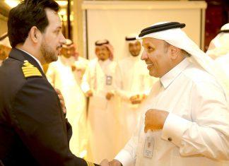 Bahri VLCC fleet manager, chief engineer Abdullah Al-Yami, being presented to the TGA president, H.E. Rumaih Al Rumaih
