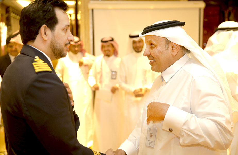 Bahri VLCC fleet manager, chief engineer Abdullah Al-Yami, being presented to the TGA president, H.E. Rumaih Al Rumaih
