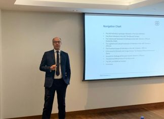 Gordon Blanke giving a talk to start Dubai Arbitration Week