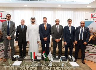 Shams Al Dhaheri, group managing director of Ali & Sons, together with executives from Rosetti Group