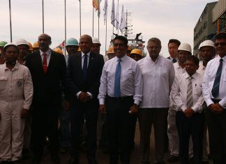 Colombo Dockyard and SLPA officials attending the delivery ceremony for the new pilot launches