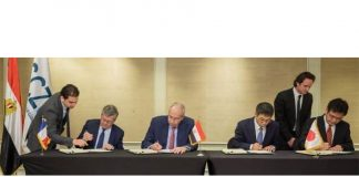 Representatives from NYK, Bolloré and Toyota Tsusho signing the ro-ro terminal concession agreement in Cairo