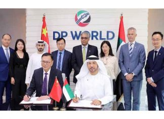 DP World and Zhidi group executives witness the signing of the e-commerce logistics MOU