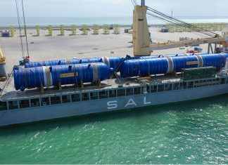 The SAL heavylift vessel Lone arriving at Duqm port
