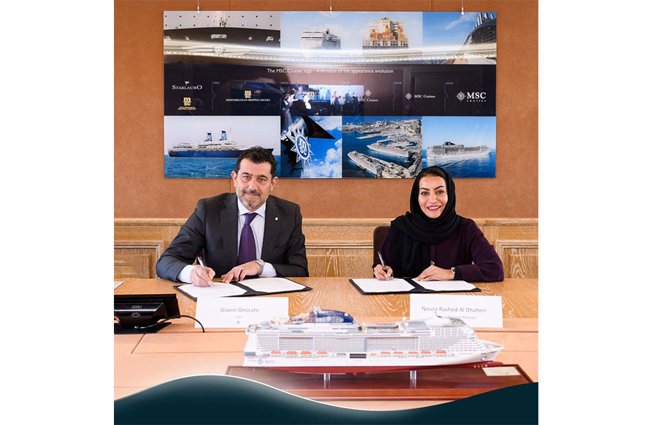 Noura Rashid Al Dhaheri, Abu Dhabi Ports Cruise Business Director, signing the new agreement with MSC Cruises' CEO, Gianni Onorato