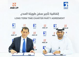 Abdulkareem Al Masabi, CEO of ADNOC L&S and J.M. Sigelman, CEO of AG&P Group, signing the contract to charter the LNG carrier Al Khaznah