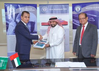 The contract for four FSIV's was signed by Jamal Abki, General Manager of Grandweld Shipyards, and Fawaz Talal Ali Al Tamimi, Vice President of Tamimi Group, in the presence of Ibrahem Al Saeed, Managing Director of High Seas Marine Industrial Services Co.