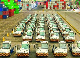 The newly delivered terminal tractors at RSGT in Jeddah