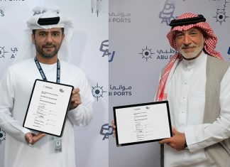 Captain Mohamed Juma Al Shamisi, Group Chief Executive of Abu Dhabi Ports, and Rakan Alireza, Managing Director of Arabian Chemical Terminals, sign the strategic agreement to develop the emirate's first greenfield commercial bulk liquid storage terminal at Khalifa Port