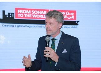 Mark Geilenkirchen, Sohar Port's CEO, highlighting achievements in 2019 at its annual business reception