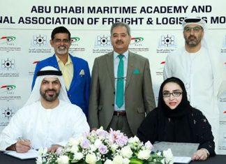 Captain Maktoum Al Houqani, Managing Director, ADMA and Nadia Abdul Aziz, President of NAFL signing the logistics training agreement in Abu Dhabi