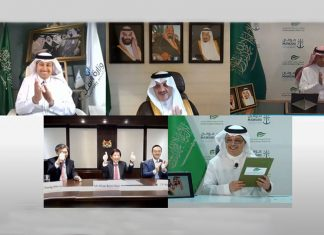 SGP was awarded a 30-year BOT contract in a virtual signing ceremony with the participation of H.E. Eng. Saleh Al-Jasser, Minister of Transport and Chairman of the Saudi Ports Authority; Khaw Boon Wan, Coordinating Minister for Infrastructure and Minister for Transport of Singapore; H.E. Eng. Saad bin Alkhalb, President of Saudi Ports Authority; and Eng. Abdullah Al-Zamil, Chairman of Saudi Global Ports