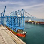 The five new cranes being delivered to Abu Dhabi Terminals
