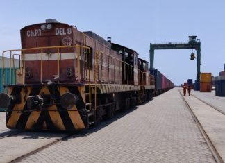 A container train at PSA Chennai after arriving from Hyderabad