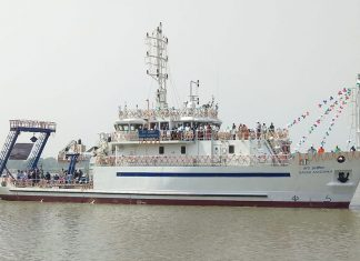 The Indian-built, IRClass Sagar Anveshika