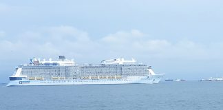 Anthem of the Seas at anchorage in Mumbai prior to disembarking Indian crew members