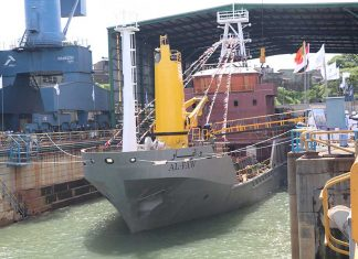 The buoy tender vessel, Al-Faw, being launched in Colombo