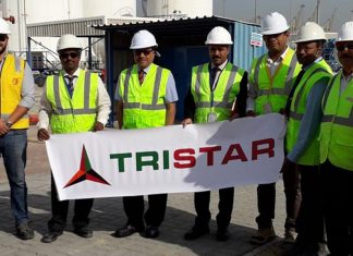 Eugene Mayne, Tristar CEO, officially starts construction of the new chemical storage tanks at JAFZA