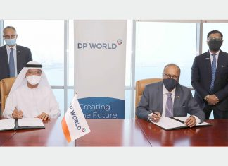 Sultan Ahmed Bin Sulayem, Group Chairman and CEO, DP World and Ramesh S. Ramakrishnan, Chairman, Transworld Group and Shreyas Shipping and Logistics Limited, signing the acquisition contract