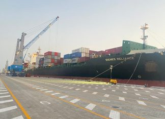 The initial Cosco container shipments being handled in the port of Duqm