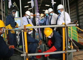 The keel laying ceremony was held in a health-conscious way