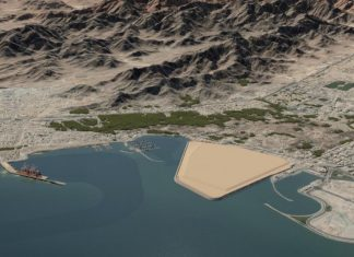 Computer enhanced image showing the site of the new Dibba Bulk Terminal in Fujairah