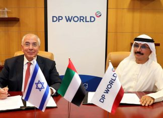 H.E. Sultan Ahmed bin Sulayem, Chairman and CEO of DP World and Shlomi Fogel, Chairman and owner of DoverTower Group, signing the MOU
