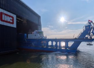Hussein Tantawy being launched at the IHC shipyard in the Netherlands