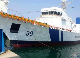 ICGS Vigraha being launched at L&T 's Chennai yard